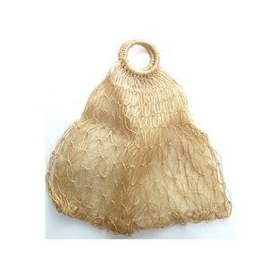 Handbags - Vintage burlap and netting tote bag festival purse